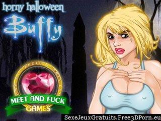 Buffy Horny Halloween jeu de vampire avec le sperme sucer
