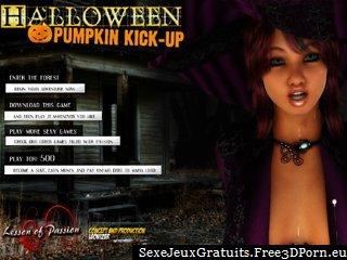 citrouille d'Halloween coup de pied avec des copines se déshabiller