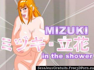 Mizuki douche jeu avec douche sexy baise