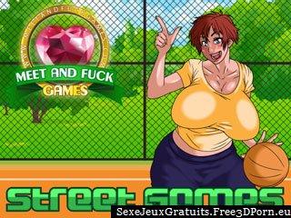 Jeux rues - seins rebondissent en libre jeu de sexe