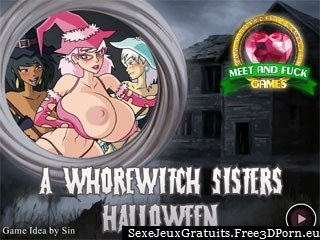 Jeu flash du porno - sœurs de sorcières Putain Halloween